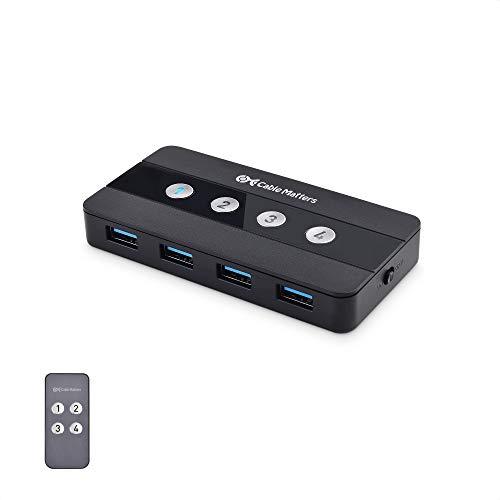 Cable Matters Conmutador USB 3.0 de 4 Puertos para 4 PC y periféricos USB (Switch USB 3.0) - Conmutación por botón o Mando a Distancia - Incluye Adaptador USB-C para USB-C y Thunderbolt 3