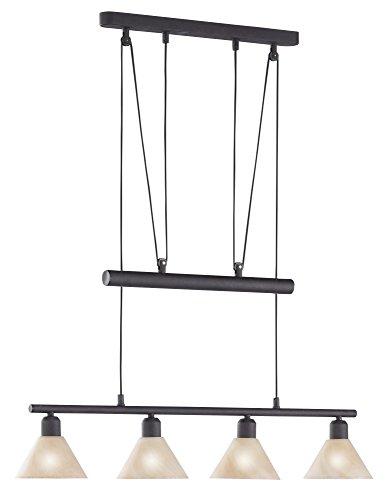 Trio Leuchten JoJo-Balkenpendel rostfarbig, Glas alabasterfarbig amber 3751041-24 [Energieklasse]