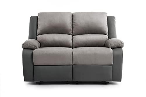 Loungitude - Canapé de relaxation 2 places en microfibre et simili - Gris