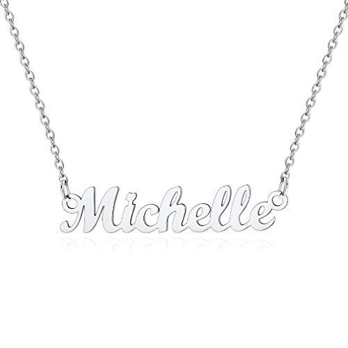 Custom4U Damen Halskette mit Namen Michelle in Carrie Stil aus Edelstahl Silberfarbe Design Namenskette für Damen/Frauen 45cm+5cm für Freundin, Mutter, Schwester