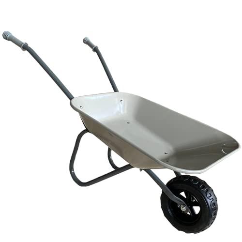 ASC Brouette en métal pour enfant - Gris/gris - Jouet, ferme, jardinage
