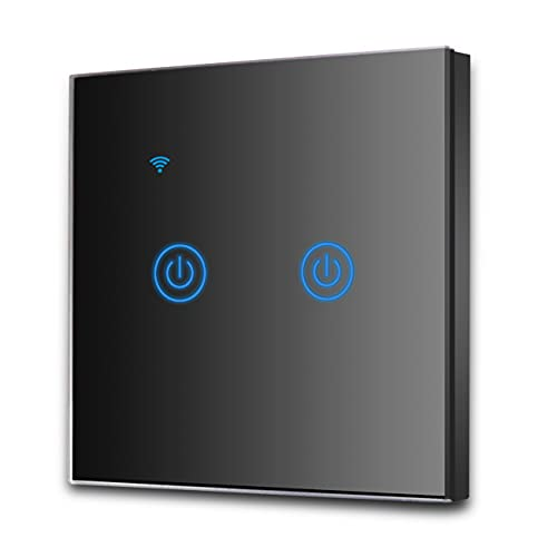 EXTRASTAR Interruptor de Pared Táctil Wi-Fi, 2 Vías, 2 Canales,