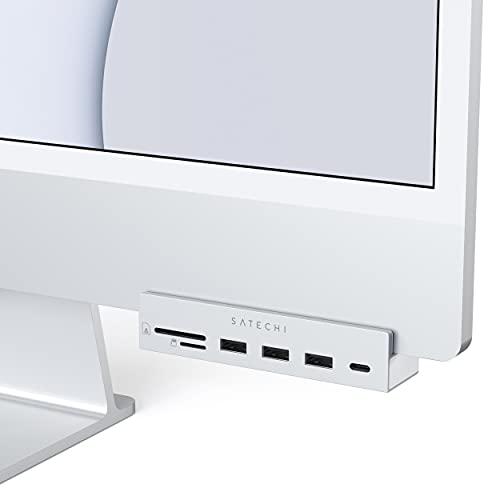 Satechi Pinza Hub USB-C– Puerto de Datos USB-C, Datos USB-A 3.0, Lector de Tarjetas Micro/SD – Compatible con el iMac 2021 24 Pulgadas (Plata)