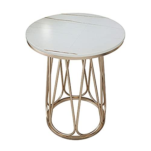 Slate salontafel, 60 cm hoge sofa bijzettafel, eenvoudige Nordic Modern Iron Ronde tafel, licht luxe stijl geschikt voor woonkamer, slaapkamer, wit
