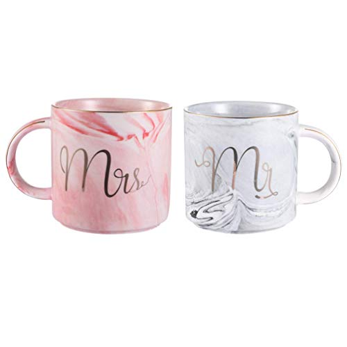 Uarter Mr and Mrs Tazze di ceramica Regali di nozze/Regalo di san Valentino uomo - Set di 2