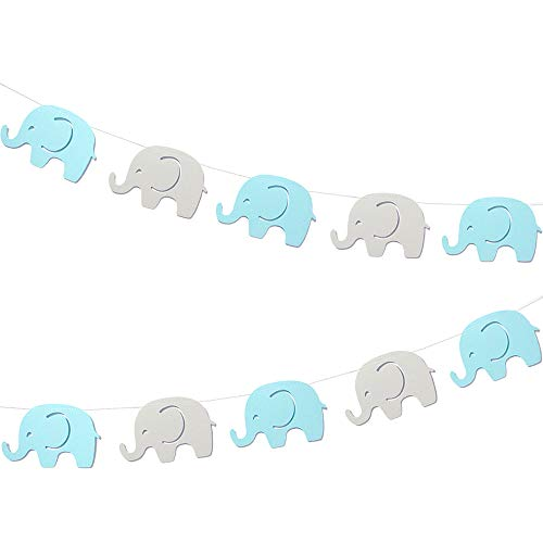 10 Feet Blue Elephant Garland Baby Shower Decorations Baby Boy Elephant Boys Party Banner Birthday Party Supplies Baby Nursery Classroom Decorations Gender Reveal Blue Gray Elephant 17 Pcs