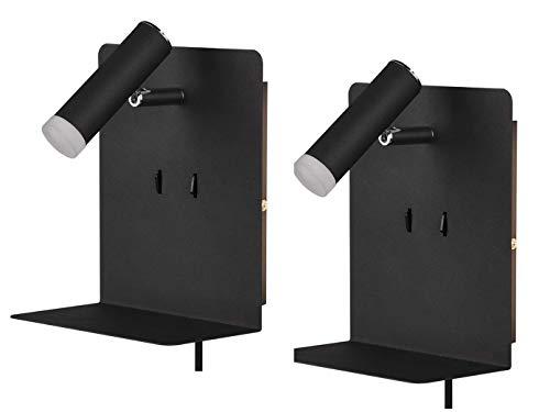 LED Wandleuchten 2er Set in Schwarz matt mit schwenkbarem Leselicht USB Ladebuchse und Ablage - ideal neben dem Bett