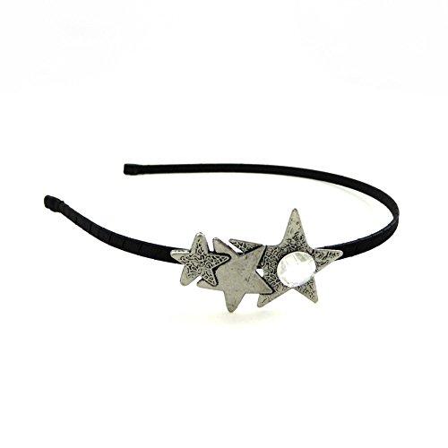 rougecaramel - Accessoires cheveux - Serre tête motif étoile en métal et strass base argenté - strass blanc