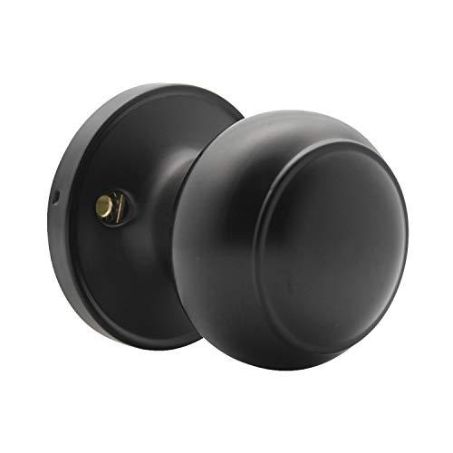 1 Pack Round Interior Door Knob Individual Dummy Doorknobs Round Shape Lock Half Dummy Keyless Door knobs Easy Installation Matte Black Finish by Probrico