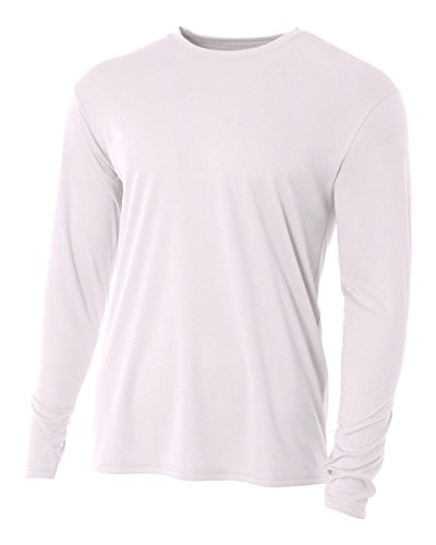 A4 Men's Cooling Performance Crew Long Sleeve T-Shirt, White, Large