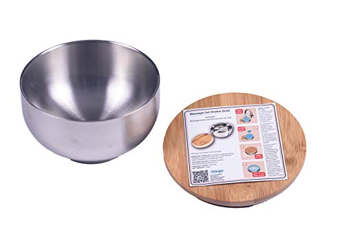 Massage Gel Shaker Bowl Includes Stainless Steel Bowl with Bamboo Lid and Air Seal with 500ml/ 16.9oz Holding Capacity