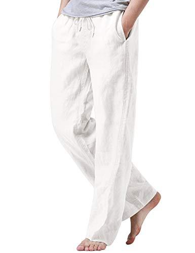iWoo Mens Leisure Pants Elastic Waist with Pockets Linen-Cotton Drawstring Pants Wxxl White
