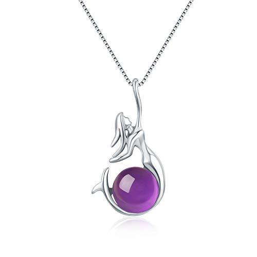 Wristchie - Collar con Colgante de Perla y Sirena de Plata de Ley 925,