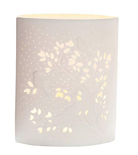 GILDE Tisch Leuchte Vögel auf Baum - aus edlem Porzellan mit Lochmuster H 20 cm