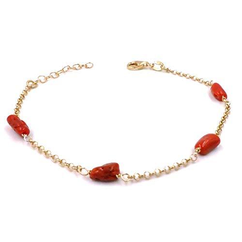 Bracciale in Argento 925 Placcato Oro Giallo con Corallo Rosso Naturale
