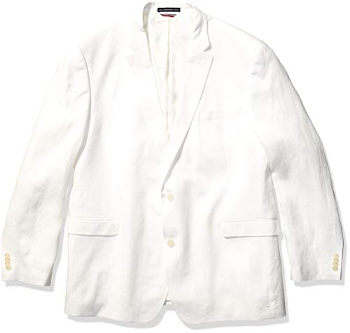 Tommy Hilfiger mens Modern Fit White Linen Suit Separates-custom Jacket & Pant Size Selection Casual Blazer, White, 46 US