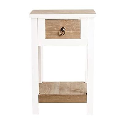 Estilosa mesita de noche fabricada en madera combinada con DM de color blanco con tablero superior de color madera natural. Mueble de diseño exclusivo para combinar con lámparas de mesitas de noche o con muebles como el armario de dormitorio, escrito...