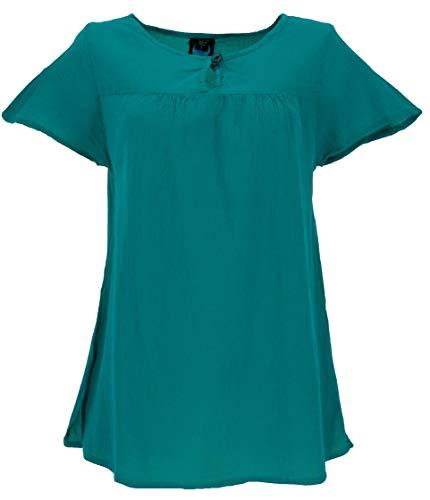 GURU SHOP Bluse, Blusenshirt, Sommerbluse, Damen, Petrol, Baumwolle, Size:L (42), Blusen & Tunikas Alternative Bekleidung