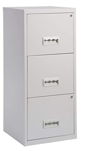 Aktenschrank aus Metall abschließbar mit Schubladen Büroschrank für Hängeregistern in versch. Ausführungen (3 große Schubladen, Grau)