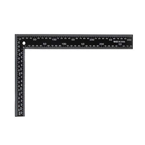 Sourcing Map L-Quadrat 200 x 300 mm Stahl metrisch 90 Grad zweiseitiger Winkel Lineal Messwerkzeug für Tischler Ingenieure, schwarz