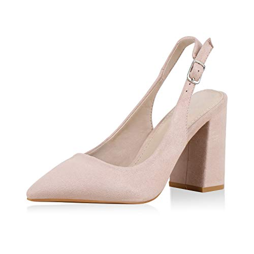 SCARPE VITA Damen Slingpumps Elegante Abendschuhe Wildleder-Optik Slingback Pumps Party Schuhe Blockabsatz High Heels 173983 Rosa Rosa Total 38