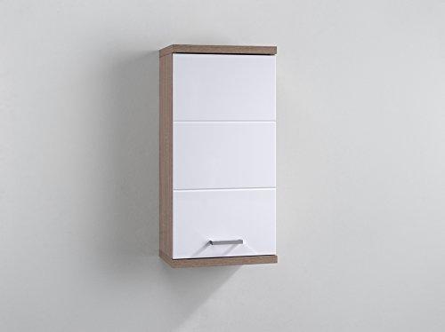 CAVADORE badkamerkast Hangkast. 35,5 x 73 x 24,5 cm eiken-look, wit.