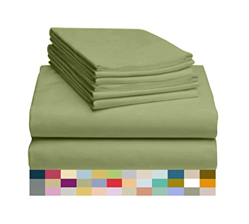LuxClub 6 PC Sheet Set Bamboo Sheets Deep Pockets 18' Eco Friendly Wrinkle Free Sheets Machine Washable Hotel Bedding Silky Soft - Lime Queen