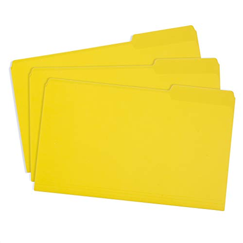 Blue Summit Supplies Yellow Legal File Folders Letter Size, 1/3 Cut Tab, Legal Size, Great for Organizing and Easy File Storage, 100 Per Box