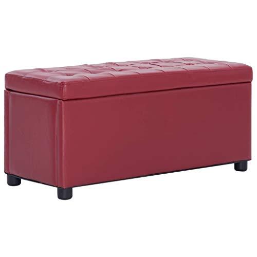 vidaXL Ottoman mit Stauraum Sitzhocker Sitzwürfel Sitzbank Aufbewahrungsbox Hocker Truhenbank Sitztruhe Truhe Sitzbox 87,5cm Weinrot Kunstleder