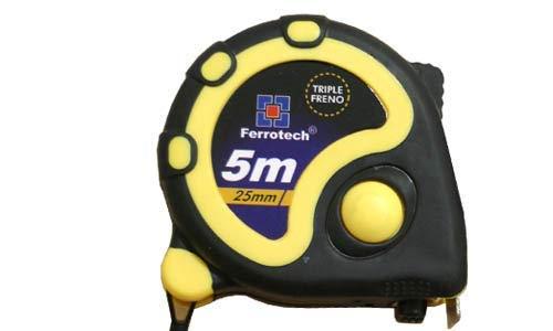 FERROTECH metrica flexometro Triple Freno de 5 Metros y Cinta de 25mm, Amarillo, 5x25mm, 5x25