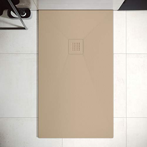 Plato de Ducha de Resina Mineral - Textura Pizarra,Antideslizante y Antibacteriano - Acabado Mate - Incluye Sifón y Rejilla (80x140 cm, Moka)