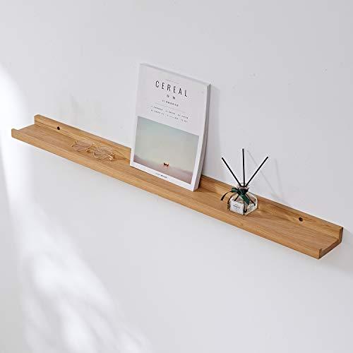 GIEANOO Estante flotante de madera de roble macizo de 91,4 cm, rústico montado en la pared, con diseño de labio, estante para radiador, estantes de pared para sala de estar, dormitorio, baño