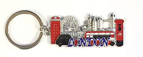 London Souvenirs Key Ring Gift for London Travel, Big Ben, London Eye Tower Bridge, Red Bus by 4 Square - KR-105 (Silver)