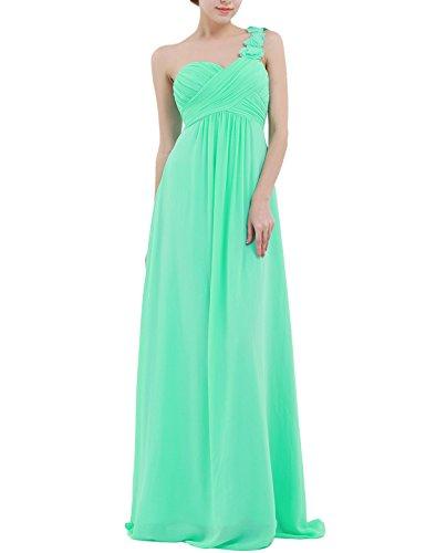 YiZYiF Chiffon Applique One Shoulder Long Bridesmaids Party Dress Turquoise 14