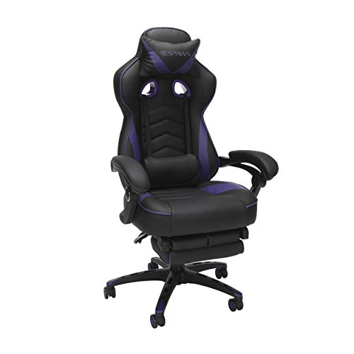RESPAWN 110 Racing Style Gaming Chair, Reclining Ergonomic Leather Chair with Footrest, in Purple (RSP-110-PUR)