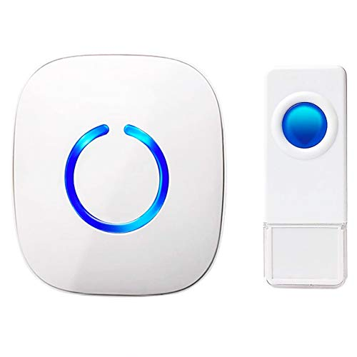 SadoTech Waterproof White Wireless Doorbell & Chime For Home - Model C - 1 Push-Button Ringer, 1...