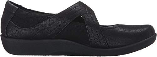 CLARKS Women's Sillian Bella Mary Jane Flat, Black Synthetic, 9.5 M US