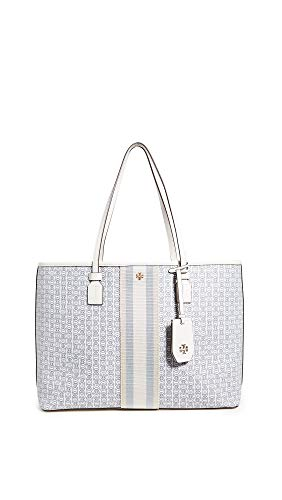Tory Burch Women's Gemini Link Canvas Tote, New Ivory Gemini Link, Off White, Stripe, One Size