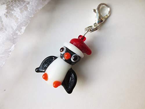 1 STÜCK Anhänger, Charm, Glas, Glücksbringer, Pinguin mit Mütze, kleines Geschenk, Mitbringsel, Lampwork Glasperlen