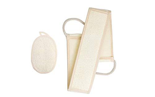 Luffaschwamm Rückenscrubber für Bad und Dusche bei DigHealth, Luffa Körperpad mit Rücken Gurt, 100% Luffa Natur Schwamm, Körper und Gesichts Peeling Zweiteiliges Set