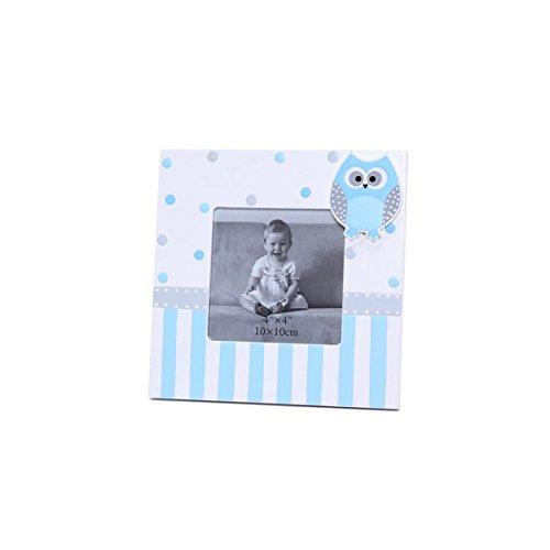 Lote 10 Portafotos Cuadrado Con Motivo Buhos Azul - Portaretratos, Marcos Fotos Bautizos Originales