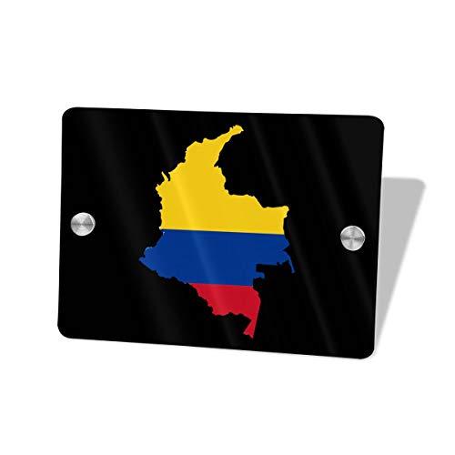 Iop 90p - Placa Decorativa para Puerta, diseño de Mapa de la Bandera de Colombia, Madera MDF, Blanco, Talla única