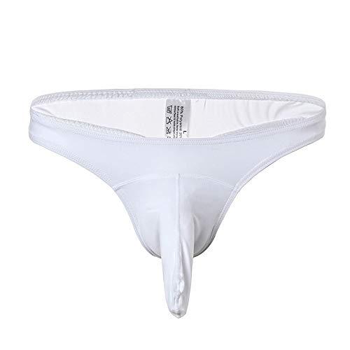 Weaton 3er Pack, Sexy Ice Silk Herrenunterwäsche, Elephant Trunk Aircraft Pants, Pouch Low Waist Sexy dünner String, Herren Nylon Slips G-String Thongs Spitze Unterwäsche T-Back Shorts