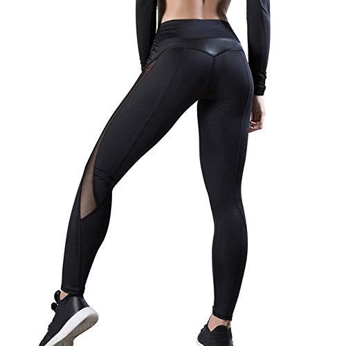 Ideal para Danza Correr Trotar Ejercicio,Pantalones de Yoga deCintura Alta para Mujer, Polainas Deportivas de Gimnasia, Pantalones Delgados con Brillo elásticos, Ropa Deportiva Push-up -B_XL,