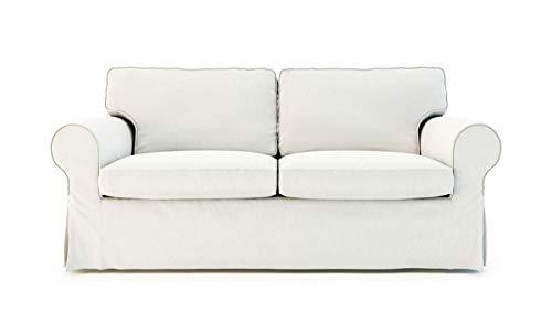 TLY Pre Shrunk Cotton Ektorp Loveseat Sofa Cover for IKEA Two Seater Ektorp Slipcover (White)