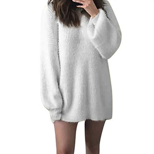 Pull Femme Chic Pas Cher Col Rond Manches Longues Chauve Souris Cachemire Automne Hiver Coton Chaude Large Couleur Unie La Mode Tendance Decontracté Pullover (5XL(EU48), Blanc)