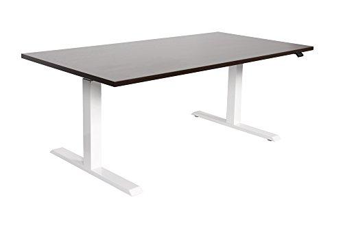 Dila GmbH Schreibtisch ergonomisch Höhenverstellung elektrisch Sitz- Stehtisch weißes Tischgestell (120 x 80 cm, Weiß)