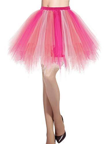 DRESSTELLS Damen 50er Vintage Petticoat Tutu Unterrock Kurz Ballett Tanzkleid Ballkleid Abendkleid Gelegenheit Zubehör Coral-Pink-Rose M