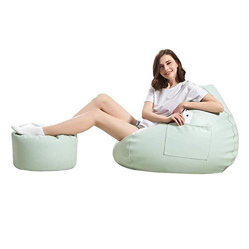 QTQZDD zitzak, stoel met ottoman, waterdichte PU-stof, voor binnen en buiten, voor gaming tuin, recliner, zitzak, stoelen, kruk, (kleur: kaki, maat: stoel) 2 2