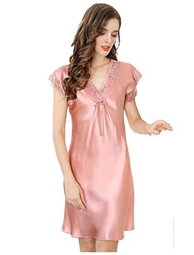 Women's Silk Pajamas,One-Piece Skirt Nightdress Sleepwear with Lace Straps,100% Silk(Main Fabric),4 Colors,真丝睡裙 (Pink, L)